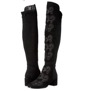 Sbicca Embroidered OTK boot with stretch back.
